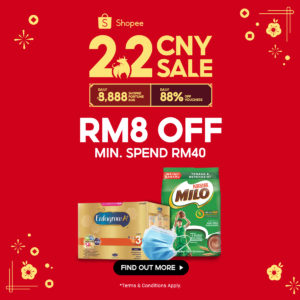 Shopee CNY 2.2 Payday RM 8 off min spend RM 40